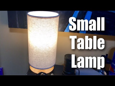 Sealle Wood Bedside Nightstand Minimalist Round Table Lamp with Linen Shade Review