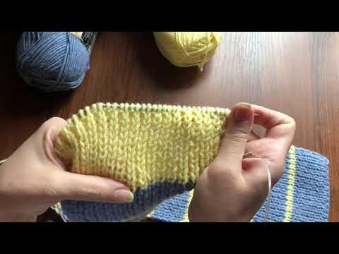 Детский шарф в полоску спицами