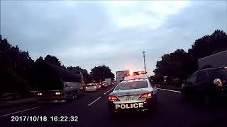 追突事故 救急車、特別救急隊出動、突然目の前にパトカー 車載動画