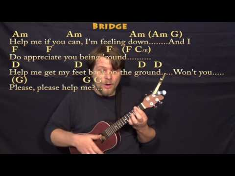 Help! (The Beatles) Ukulele Cover Lesson In Am With Chords/Lyrics