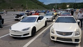 Tesla P100D Takes on Muscle Cars at Bristol Dragstrip!
