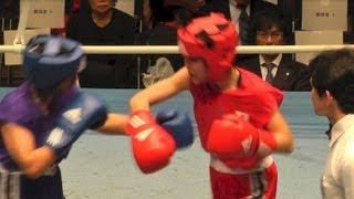 Women's Boxing 秋山優女 vs 竹中愛佑梨 (女子ボクシング) 2013.4.2