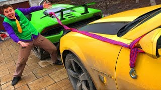 Red Man tied Cars with Rope VS Mr. Joe on Lamborghini Huracan VS Chevy Camaro for Kids