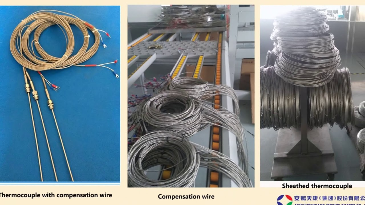 Sheathed thermocouple with compensation wire - YouTube