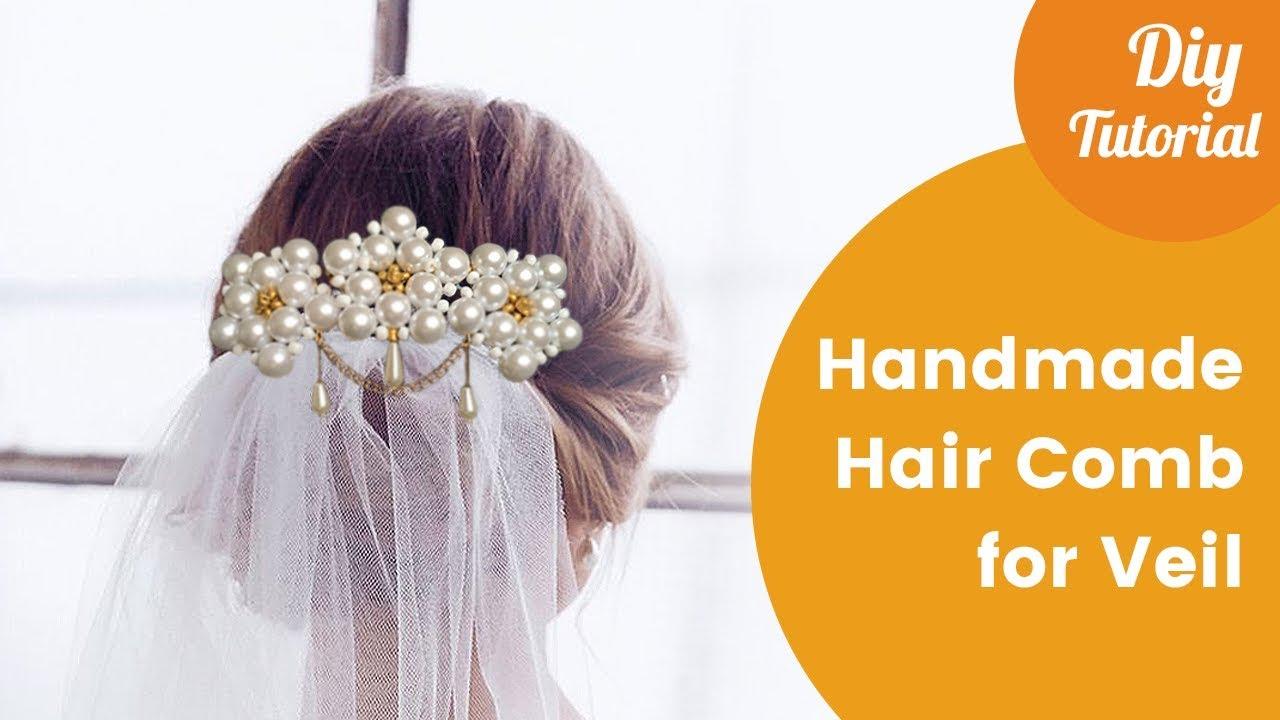Handmade Hair Comb For Attaching Bridal Veil. DIY Craft