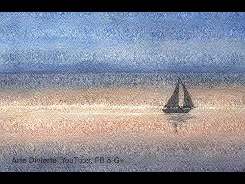 Cómo pintar un paisaje marítimo en acuarela con velero y luz - Narrado
