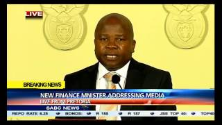 Van Rooyen address the media after being sworn in as finance minister