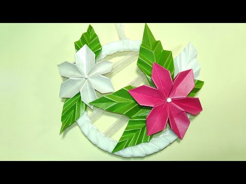 Easy Origami flowers. EASY DIY gifts. Wall hanging decor with paper flowers.