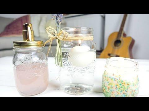 3 Mason Jar DIYs + Bonus! - YouTube