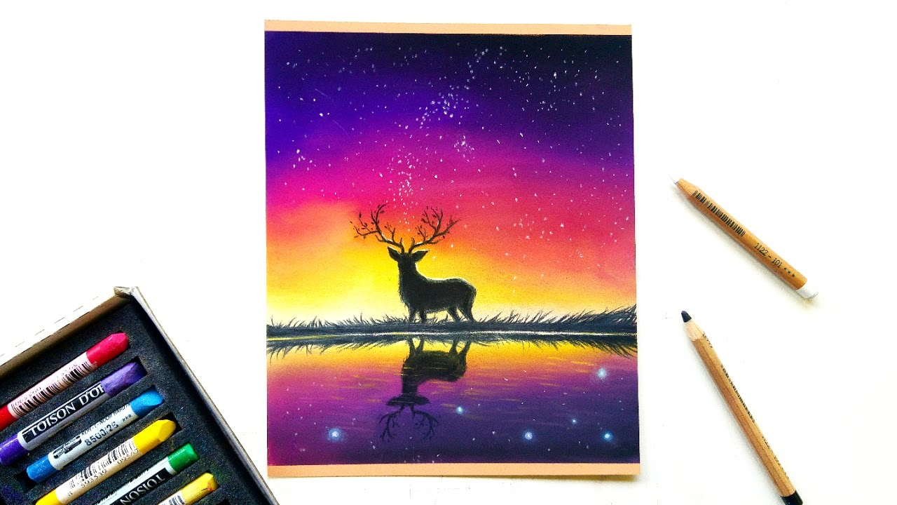 how to draw a night sky with oil pastels