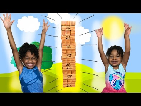 GIANT JENGA XL Cardboard block Game for Kids Eggs Surprise Toy Challenge | Naiah & Elli Toys Show
