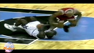 Shaquille O'Neal Grabs Dennis Rodman's Foot and Pulls Him Down! - Technical Foul (1996 Playoffs)