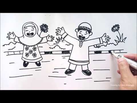 Gambar Ilustrasi Anak Soleh Solehah Sedang Bermain Di Taman Youtube