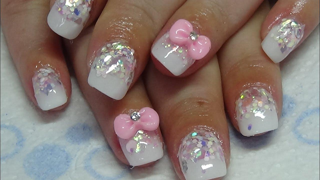 little cute glitter acrylic nails