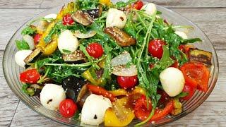 Попробовав раз этот салат вы будете готовить его всегда! Салат с руколой,овощами и моцареллой.