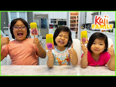 How to make Rainbow Popsicles with 1hr DIY kid size baking!!!