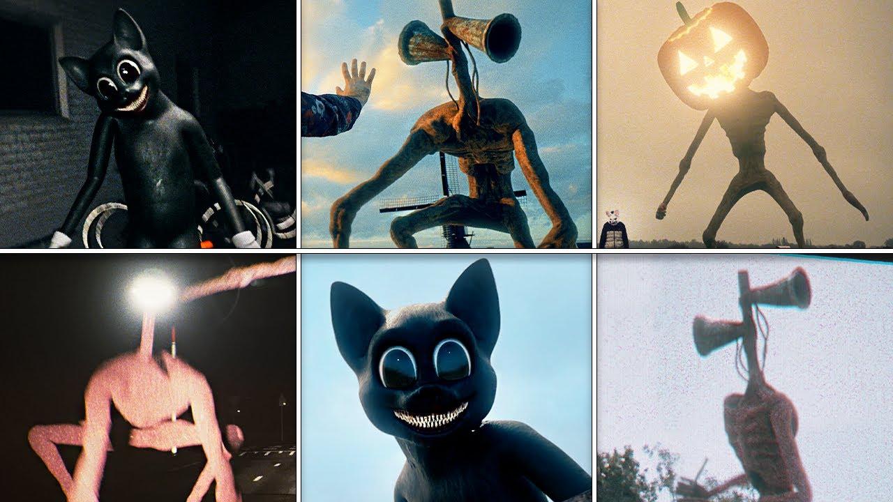 All Creatures caught ON CAMERA | Siren Head, Light Head & Cartoon Cat