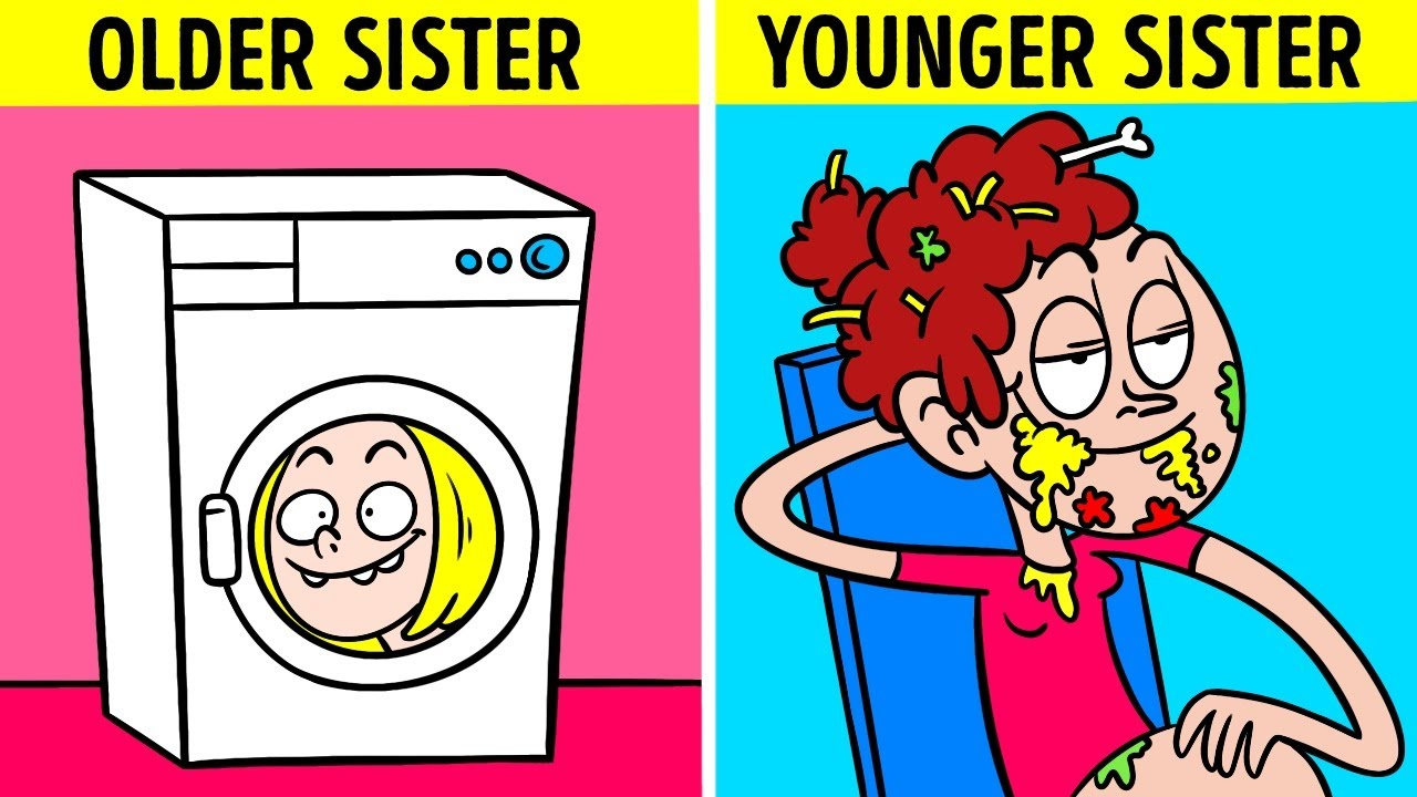 NICE SISTER VS WEIRD SISTER AND THEIR FRIENDS    Crazy Relatable Moments by 123Go! Animated