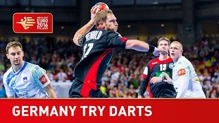 Germany give it a go at darts| EHF EURO 2016