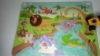 Собираем весёлый пазл.животные Африки детям/Funny Puzzle. African animals for kids/nursery