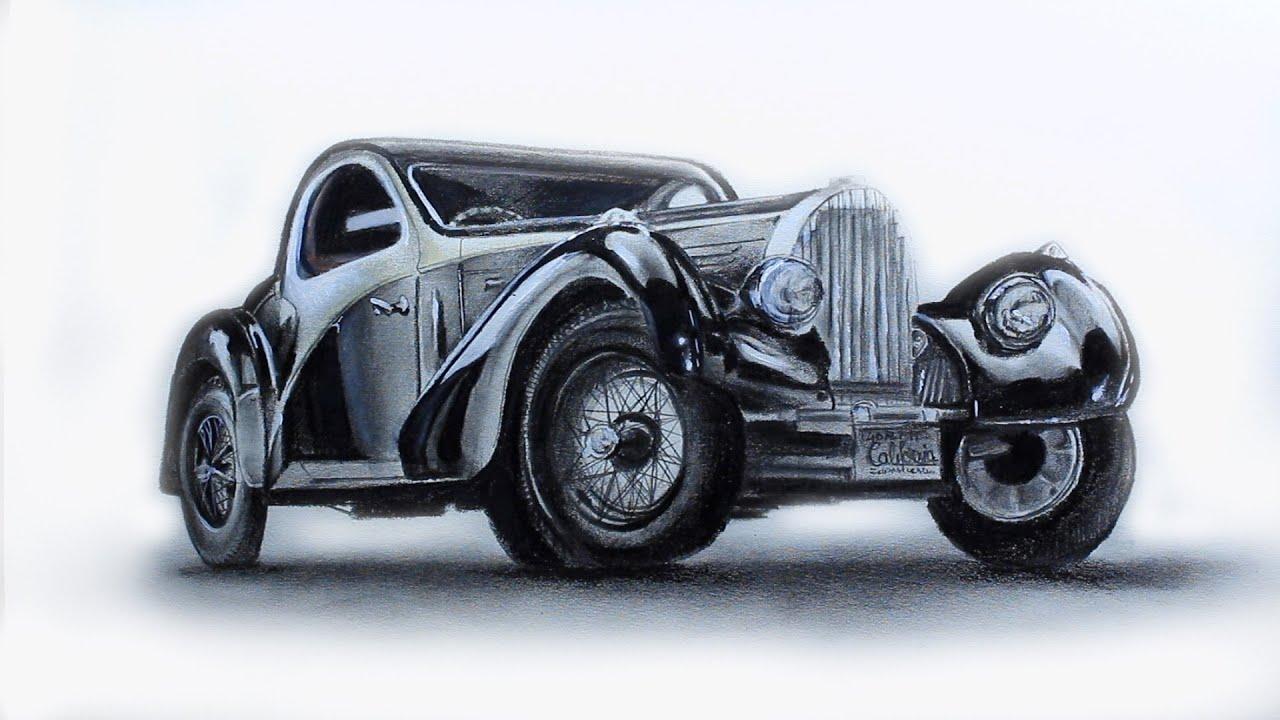 Art Videos, How to Draw a Classic Bugatti - YouTube