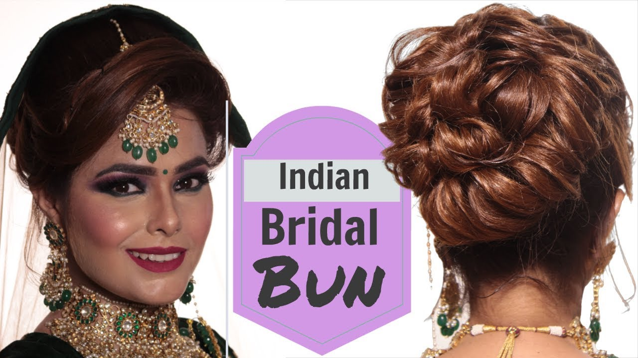 easy bridal bun tutorial - step by step indian bridal hairstyle - wedding  hairstyle