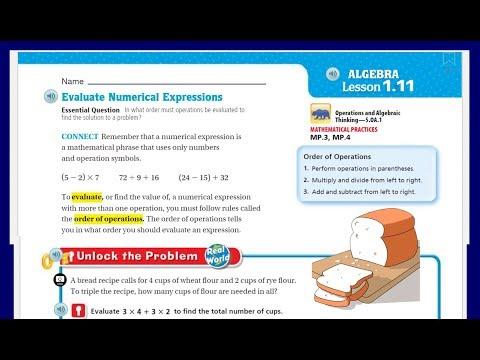 Go Math 5th Grade Lesson 1 11 Evaluate Numerical Expressions
