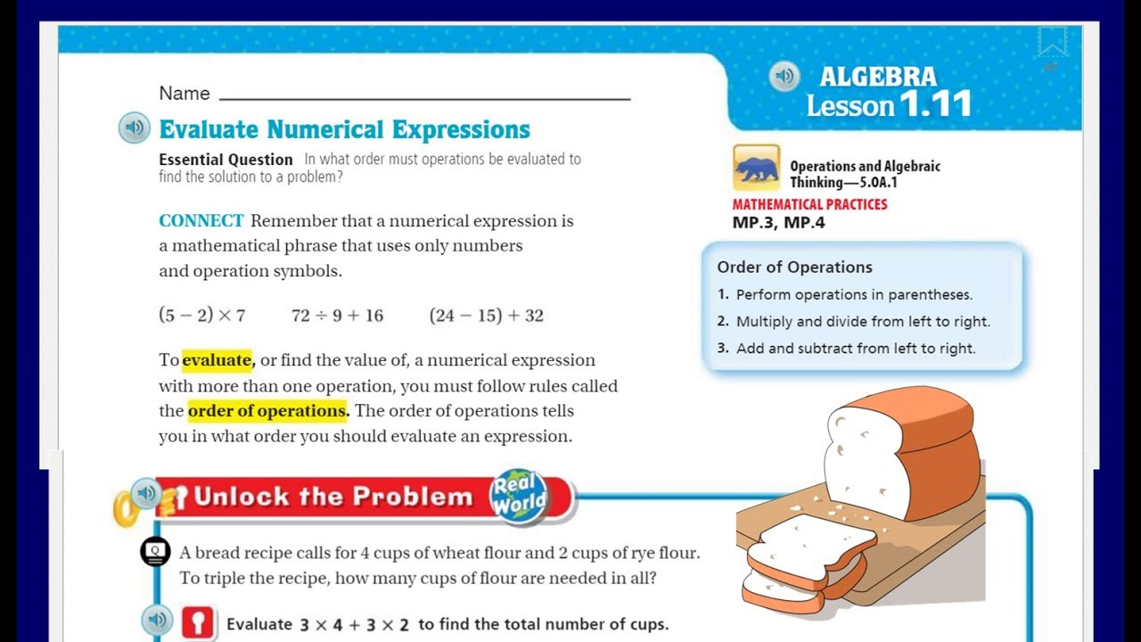 small resolution of Go Math 5th Grade Lesson 1.11 Evaluate Numerical Expressions - YouTube