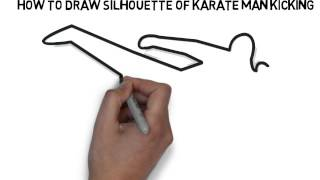 How To Draw Silhouette Of Karate Man Kicking