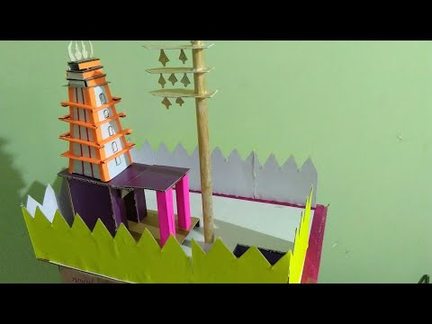 How to make paper temple,DIY paper craft for kids, temple exhibition project