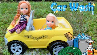 Elsa and Anna Car Wash! Toddlers Elsya and Annya Play in Soap Foam Barbie Car Wash Station Frozen