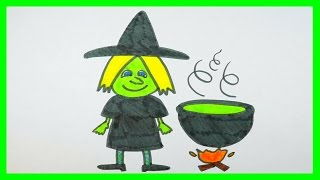 Halloween Coloring Page | Magical Green Witch, Cauldron, Fire