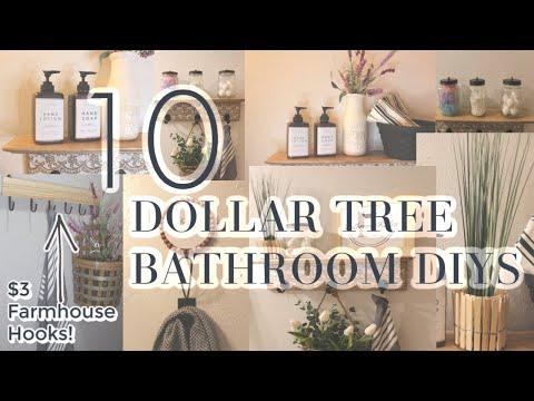 10 DOLLAR TREE BATHROOM DIYS   FARMHOUSE BATHROOM DECOR