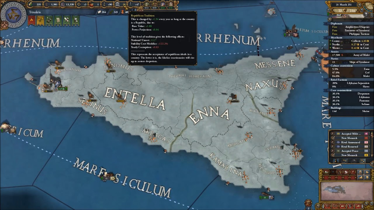 [EUIV] Imperium Universalis Timelapse - Syracuse/The Kingdom Of Sicily on lampedusa island italy map, viceroyalty of peru on map, county of tripoli on map, kingdom of sicily flag, battle of cannae on map, principality of antioch on map, ryukyu kingdom on map,