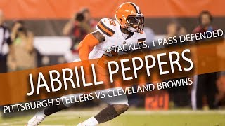 jabrill peppers browns debut highlights vs steelers 4 tackles 1 pass defended 9 10 17