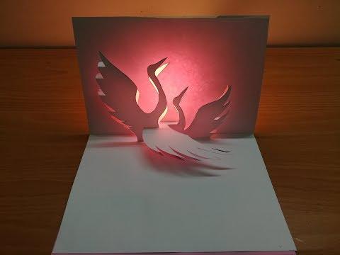 3d crane | Pop up crane card | paper art | kirigami | 3d鶴卡 | 3d祝賀卡