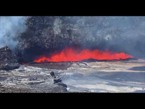 Lava Lake Overflows Onto Halemaumau Crater