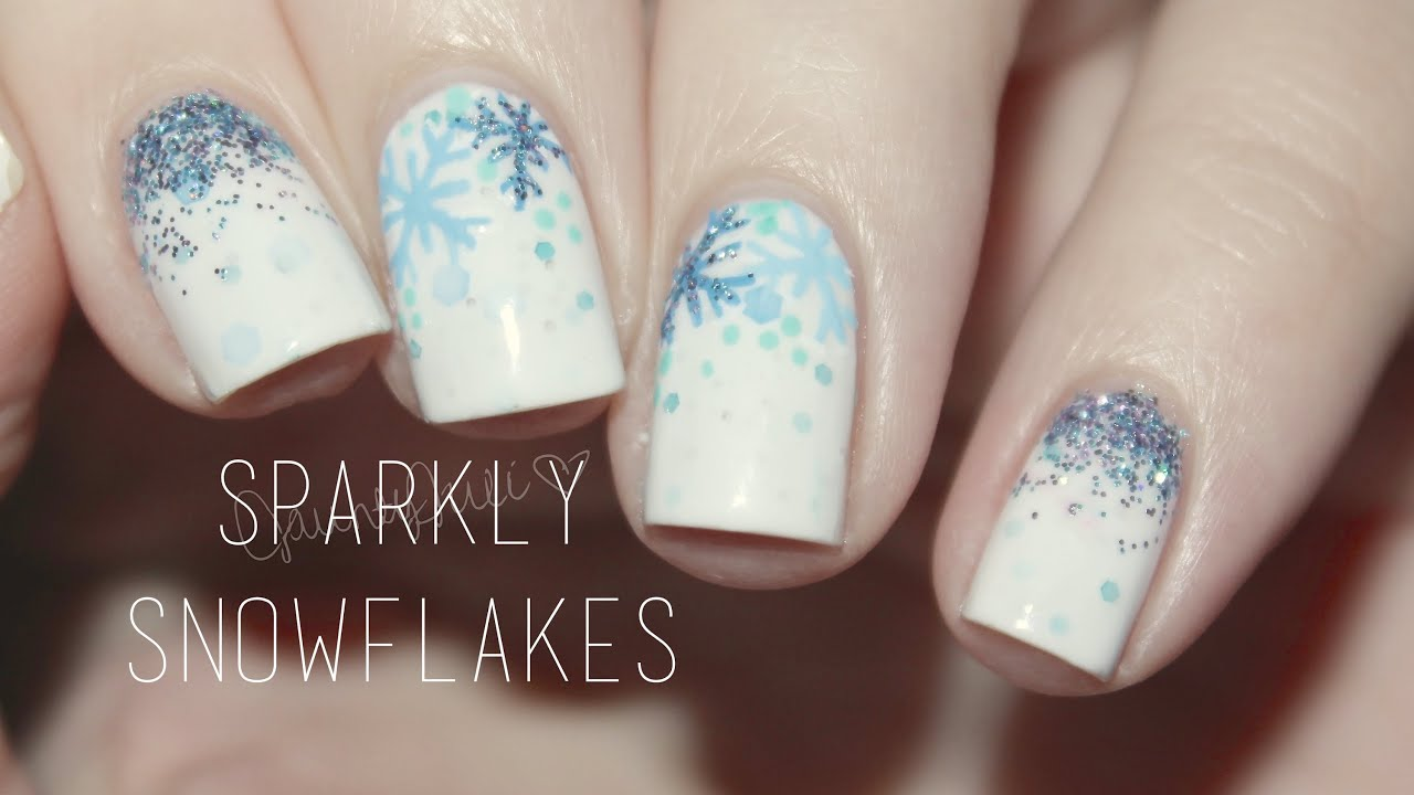 Sparkly snowflakes nail art youtube prinsesfo Image collections