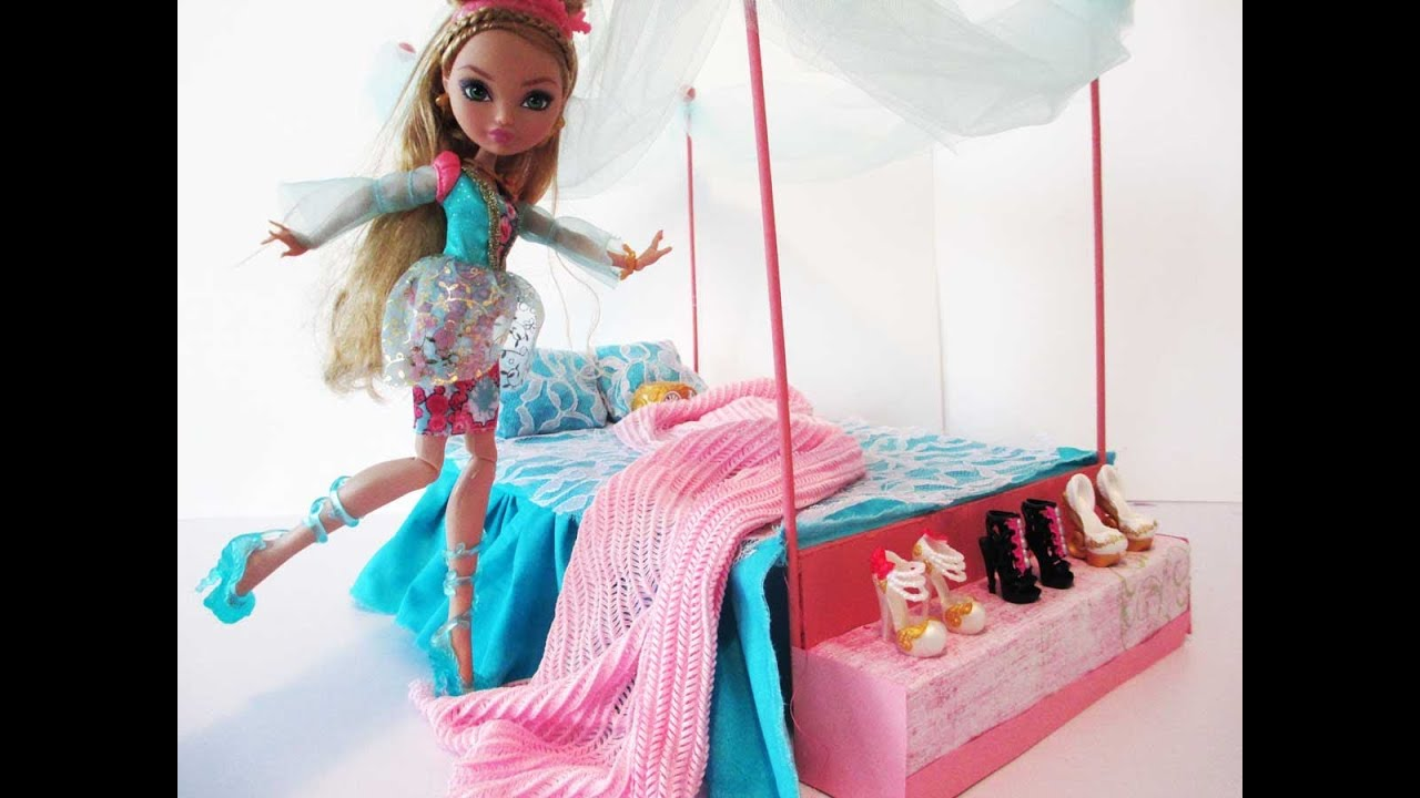 How to make a ashlynn ella bed tutorial ever after high for How to make a high bed