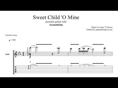 Acoustician - Sweet Child 'O Mine solo TAB - acoustic guitar solo tab - PDF - Guitar Pro