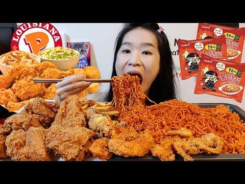 Spicy Toppoki Fire Noodles & Popeyes Buttermilk Shrimp! Ramen & Fried Chicken Mukbang w/ Asmr Eating