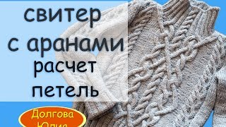 Вязание свитера спицами -  расчет петель ///  scheme of knitting sweaters