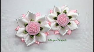 Украшение на заколку Канзаши / Розово-белые цветочки / Канзаши для начинающих