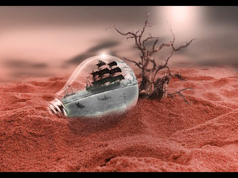 Pirate ship in the bulb manipulation 2019 || Photo manipulation || Photoshop tutorial thumbnail