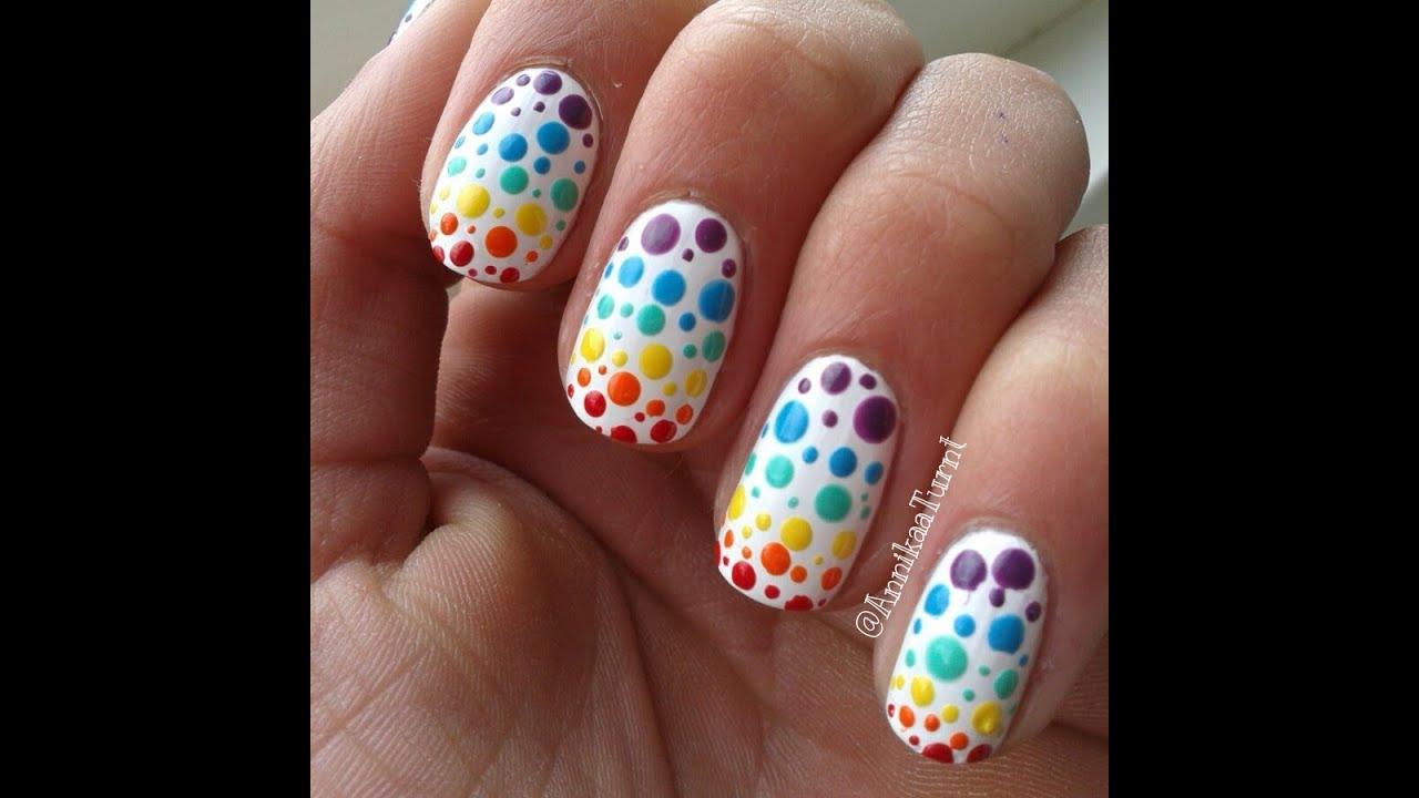 Colorful Polka Dots Nail Art Youtube