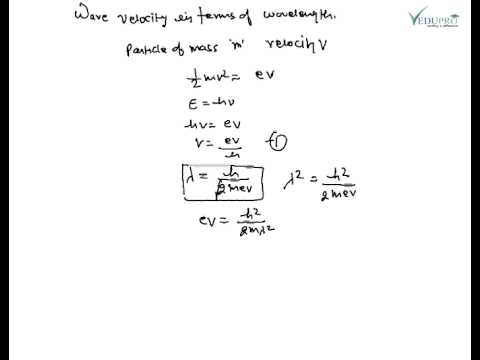 Wave Velocity in terms of wavelength, De Broglie ...
