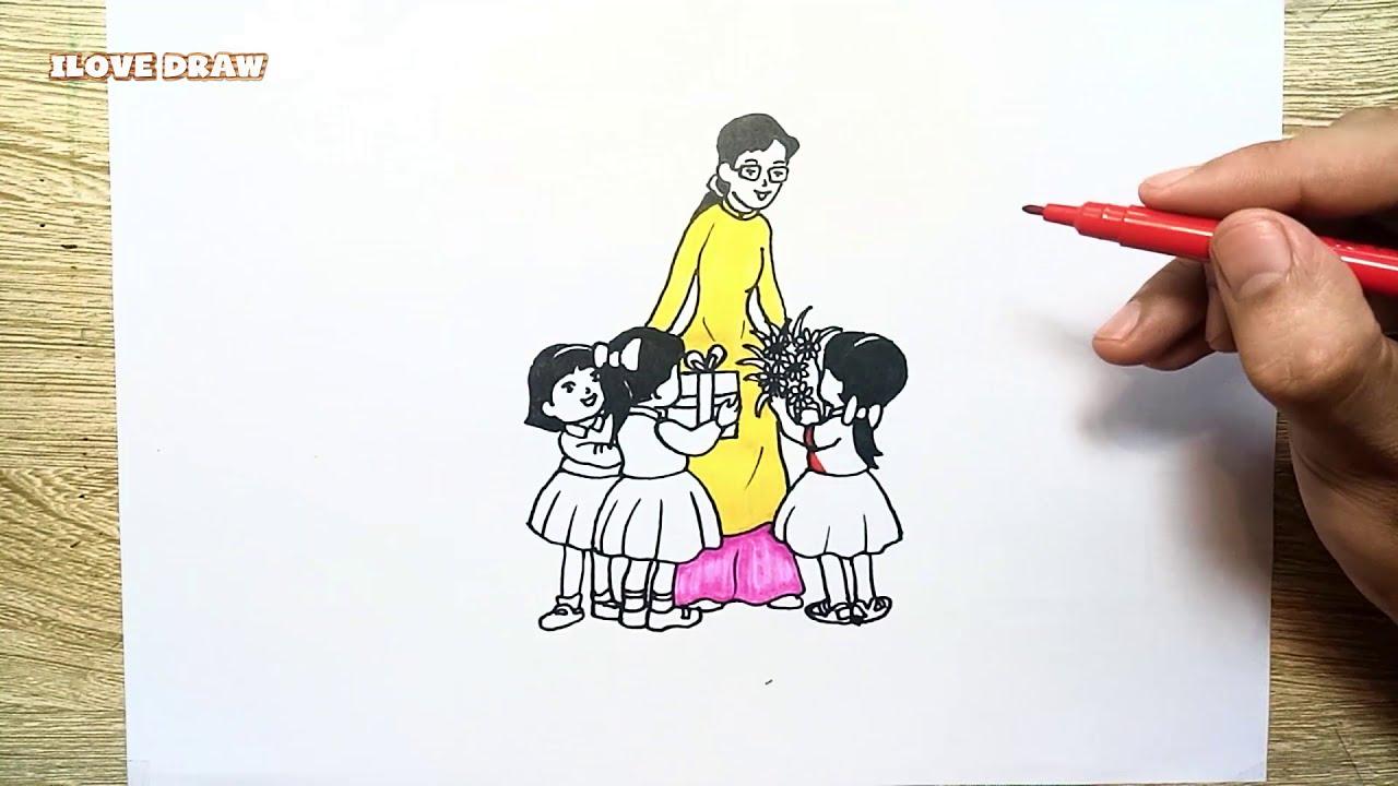 Vẽ Tranh Ngày 20 -11 cực dễ ★ Cách vẽ Ngày Nhà Giáo Việt Nam 20 tháng 11 – Duy Hiếu Vlogs