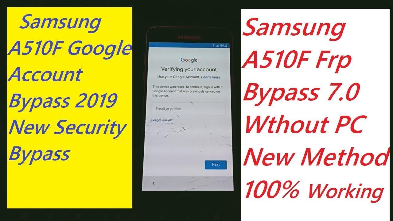 Samsung A510f Frp Bypass 7 0 Samsung Galaxy A5 2016 Google Account Bypass 2019 For Gsm