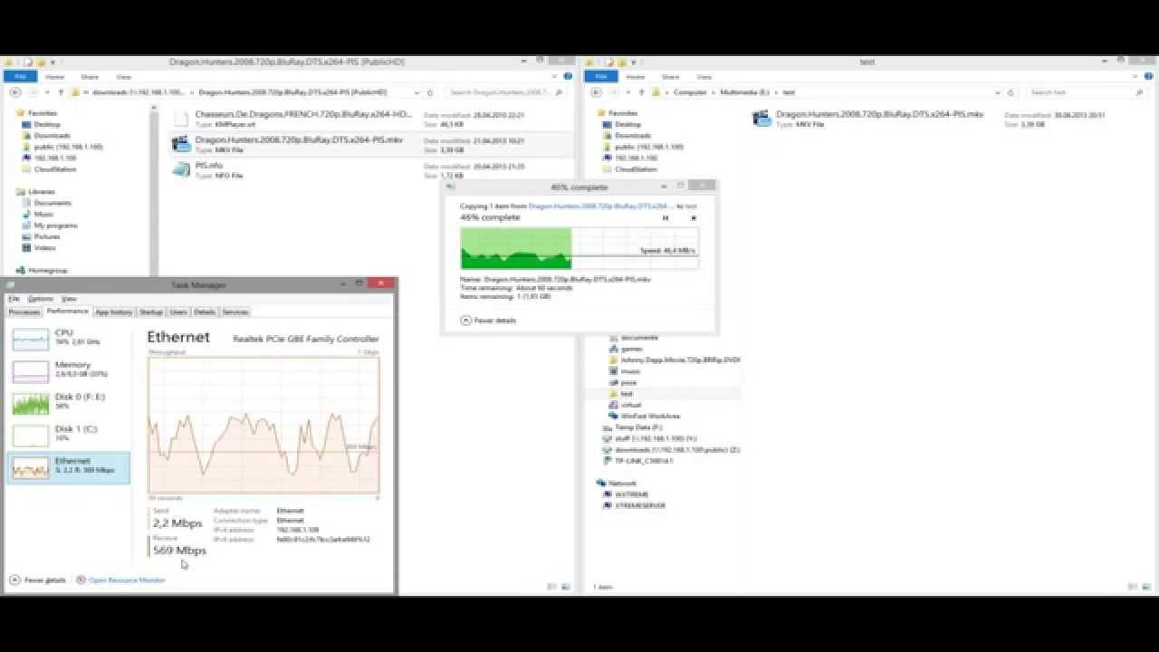 Synology ds 112j speedtest via gigabit lan