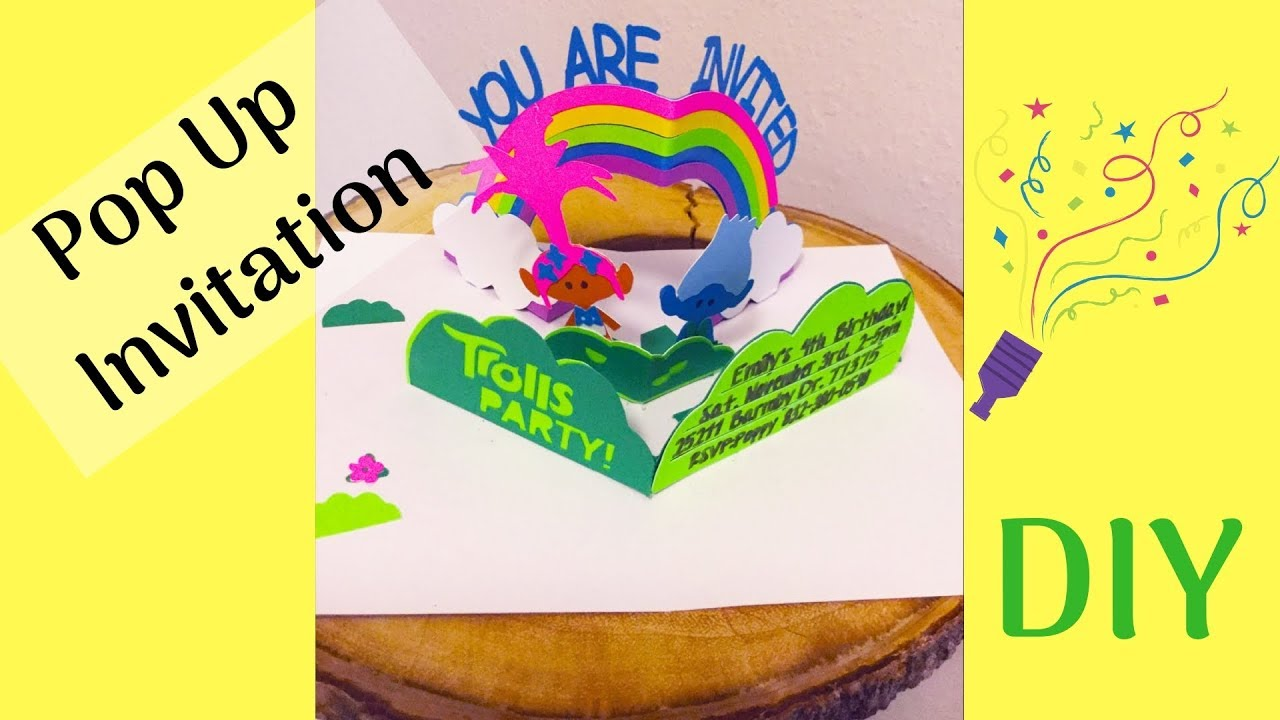 diy trolls birthday invitations